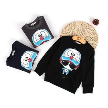 瑞彩秋冬新款儿童套头卫衣哆啦A梦卡通图案棉绒打底衫男童上衣潮