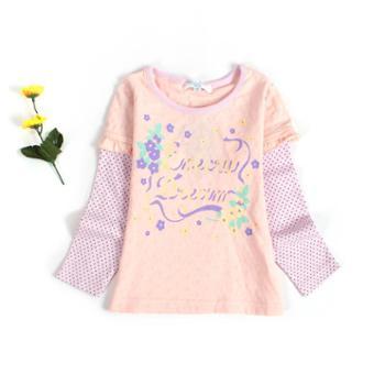 春秋新款童装女童长袖假两件打底衫儿童圆领套头T恤上衣