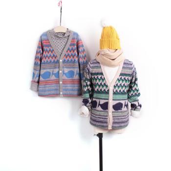 秋冬新款儿童棉绒开衫外套中大童韩版童装休闲针织衫百搭上衣潮