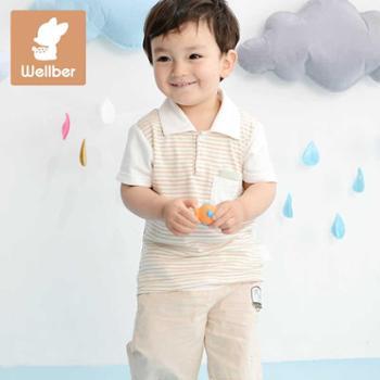 威尔贝鲁2016新款 夏季竹纤维男女儿童短袖翻领T恤 纯棉婴儿打底衫上衣