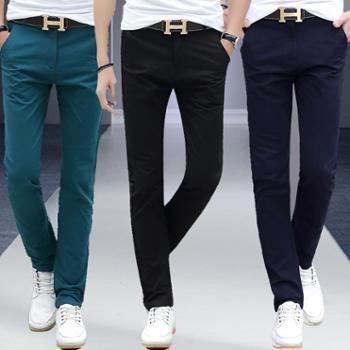 小脚长裤黑色韩版直筒修身潮冬季弹力加厚男裤子男士休闲裤包邮