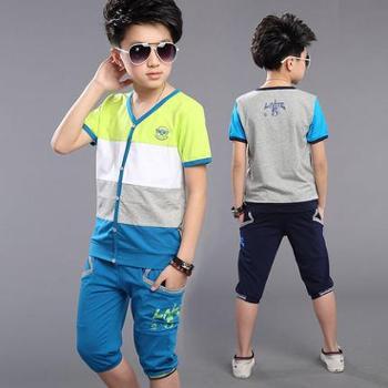 迈秀童装男童短袖套装中大童青少年夏季运动套儿童休闲2016夏装潮