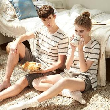 果壳情侣睡衣夏纯棉情侣家居服套装睡衣女夏季居家服舒适运动睡衣