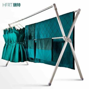 华峰瑞特不锈钢晾衣架落地双杆式折叠伸缩室内X型阳台晒架晒被子