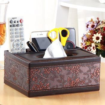 欧式家用皮多功能纸巾盒抽纸盒 餐巾纸抽盒客厅遥控器收纳盒创意