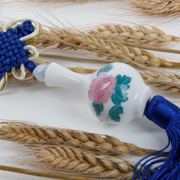 瓷善汇釉下彩手绘陶瓷车挂吊饰创意幸运瓶手工编织中国结随机发颜色