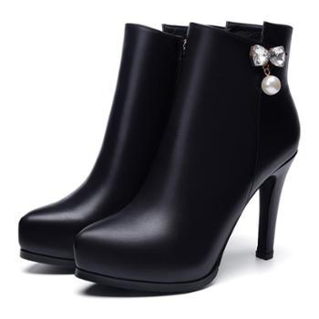 浓情漫宇女鞋靴子欧美牛皮细高跟防水台短靴C335