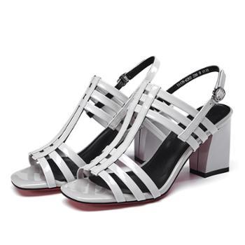 浓情漫宇高跟女凉鞋欧美牛皮粗跟女鞋G172