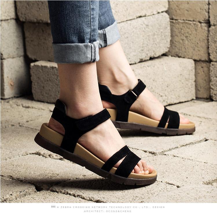 妙侣2016夏季新品韩版平底凉鞋女真皮平跟露趾罗马鞋复古学生凉鞋