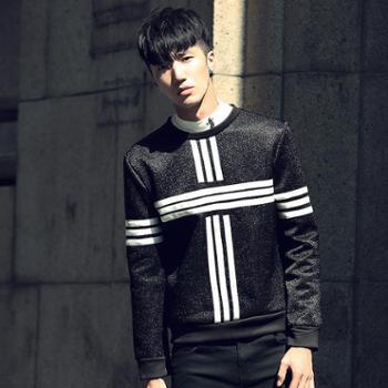 2015新款秋装 欧美街头风男士黑白条纹拼接圆领卫衣长袖