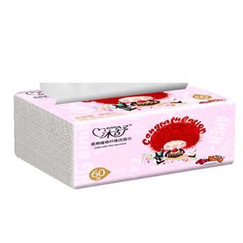 沐舒柔棉植物纤维洁面巾抽取式60抽*12包
