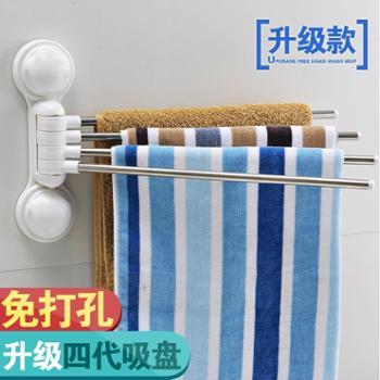 免钉强力吸盘毛巾架浴巾架不锈钢浴室免打孔挂毛巾架卫生间毛巾杆
