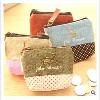 特价尚派~热卖布艺棉麻时光零钱包 创意时尚零钱包 钥匙包 三个装