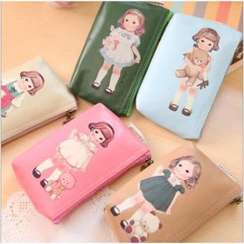 尚派~洋娃娃随手包 复古可爱洋娃娃零钱包 卡通手机包钥匙包四个装