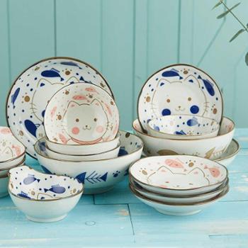 原是家居日式陶瓷手绘餐具小馋猫系列可爱小碗蝶盘家用