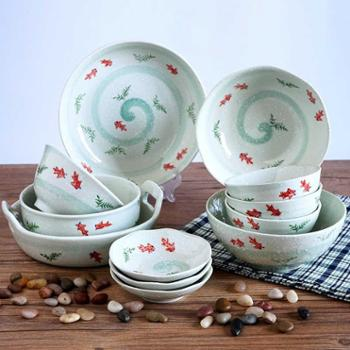 小金鱼系列 18件套 日式陶瓷创意餐具碗碟套装碗筷4人家用碗盘礼盒套装厨房用具