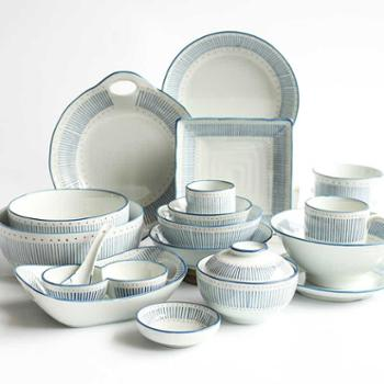 雨木西田渔火釉下彩家用餐具陶瓷碗碟盘4人套装
