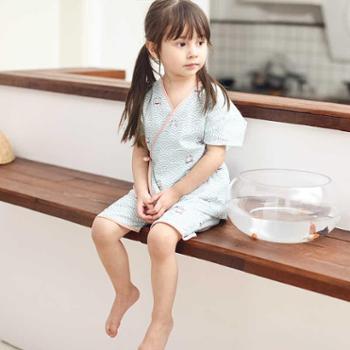 MEJU夏季纯棉纱布儿童女童和服睡衣短袖家居服薄款短裤两件套装宝宝装