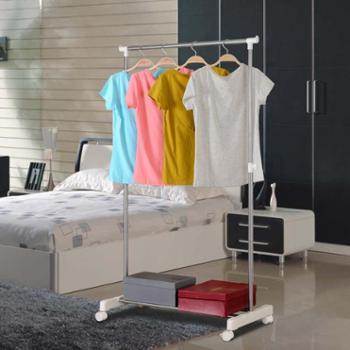 简易不锈钢晾衣架落地伸缩晒衣架阳台单杆凉衣架室内