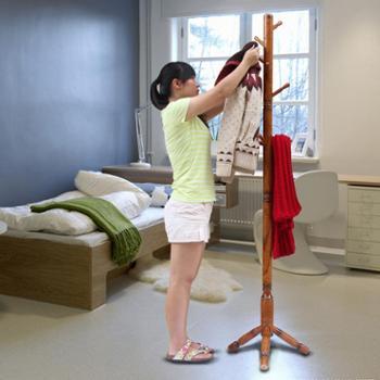 创意实木衣帽架卧室挂衣架简约现代落地衣架
