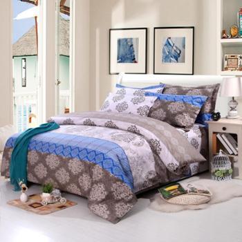 锦华家纺 纯棉印花四件套 全棉双人被罩 全棉床单枕套 1.8m2.0m床
