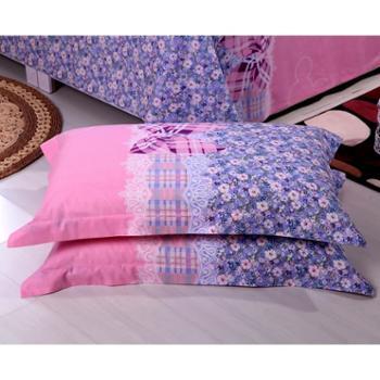 锦华家纺 纯棉枕套 全棉平纹印花枕套 健康枕芯套 单人双人学生枕头套 48 74cm一对装