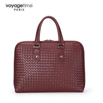 voyagetime轻奢系列枣红色头层牛皮男士公文包VM4001-105