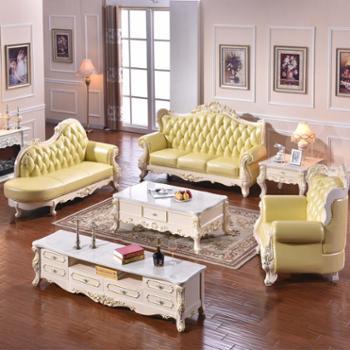 欧式真皮沙发白色进口头层牛皮艺1+2+3贵妃沙发组合SF2109