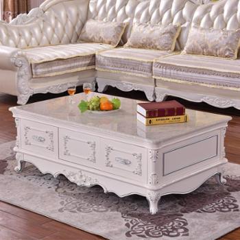 欧式茶几 板木结合雕花象牙白色长茶几 2108