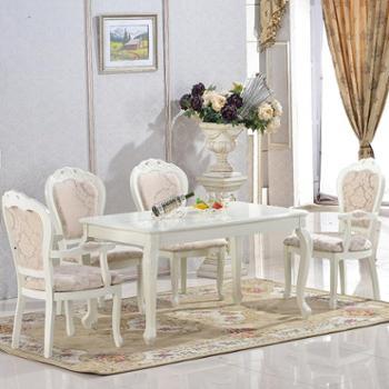 欧式实木餐桌椅组合一桌六椅 法式长方形大理石餐台饭桌订做T816