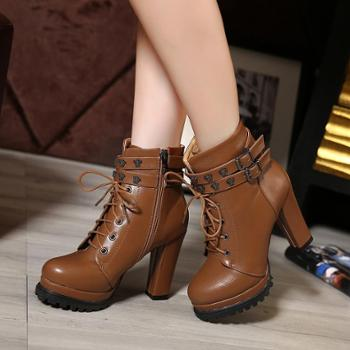 马丁靴粗跟短靴踝靴欧美新品女靴秋冬防水台高跟系带