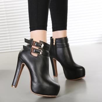 粗跟短靴百搭马丁靴女靴秋冬防水台女靴高跟鞋子
