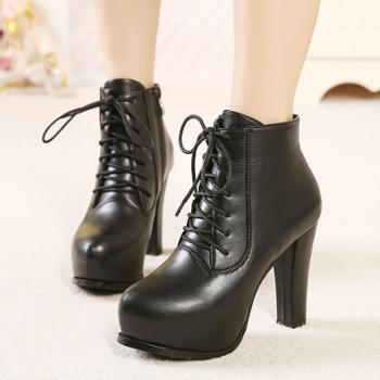 内防水台高跟短靴女秋冬新款女鞋韩版前系带靴子