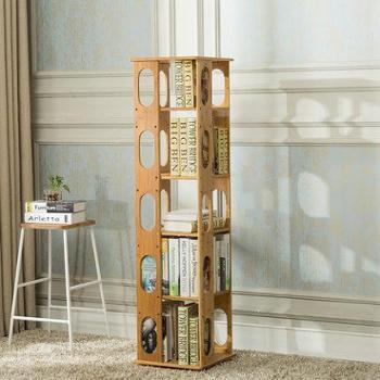 竹居士楠竹旋转书架360度学生现代简易书架子创意书柜置物架