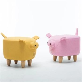 时尚创意换鞋凳可爱儿童小凳子沙发凳家用实木矮凳动物猪猪坐墩子
