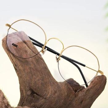 【0元配镜】TILU天禄眼镜金属文艺半框眼镜超轻韩流镜框J00358