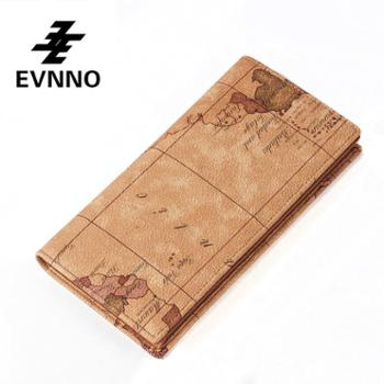 意威诺(evnno)情侣款对折长款钱包 情侣款 限量地图款式 Q7025-16
