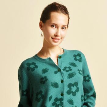 牧园恋人女装中老年含绒秋冬毛衣开衫宽松加肥加大码加厚羊毛衫