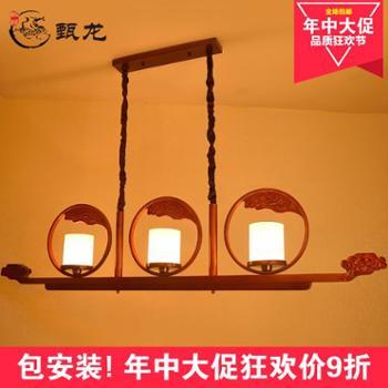 新中式客厅餐厅大吊灯仿古实木大厅别墅古典酒店茶楼灯具