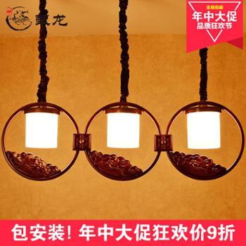 甄龙现代新中式吊灯餐厅吊灯客厅仿古长方形创意吧台灯中式灯具6001