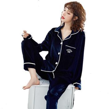 众缘鸟金丝绒睡衣女网红款可出门休闲套装春秋薄款韩版长袖家居服两件套