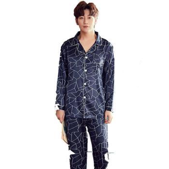 众缘鸟冰丝睡衣男士春秋季长袖长裤质家居服两件套装印花仿真丝绸丝