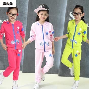 春款新品男童女童套装韩版套装中大童星星套装星星套装