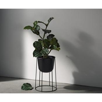 北欧现代简约铁艺花架圆形落地式植物花盆花架子日式客厅室内创意