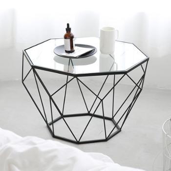 北欧客厅艺术金属铁艺钢化玻璃茶几八角玻璃桌子沙发桌子