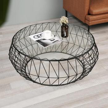 美式北欧个性客厅金属铁艺简约圆形钢化玻璃茶几 小户型