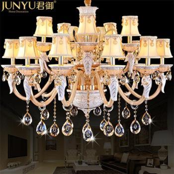 君御欧式餐吊灯蜡烛金色水晶灯复式楼别墅水晶吊灯餐厅灯9822