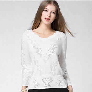秋冬女式欧美收腰镂空针织衫七分袖打底衫修身小衫