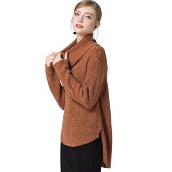 秋冬上衣外搭毛衣女装粗针宽松套头堆堆领不规则时尚针织衫女恩德兰派服饰