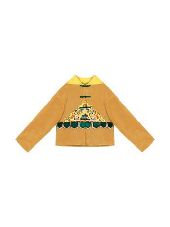 素萝原创风幡民族风刺绣冬季新款颗粒绒旅游宽松连帽外套女